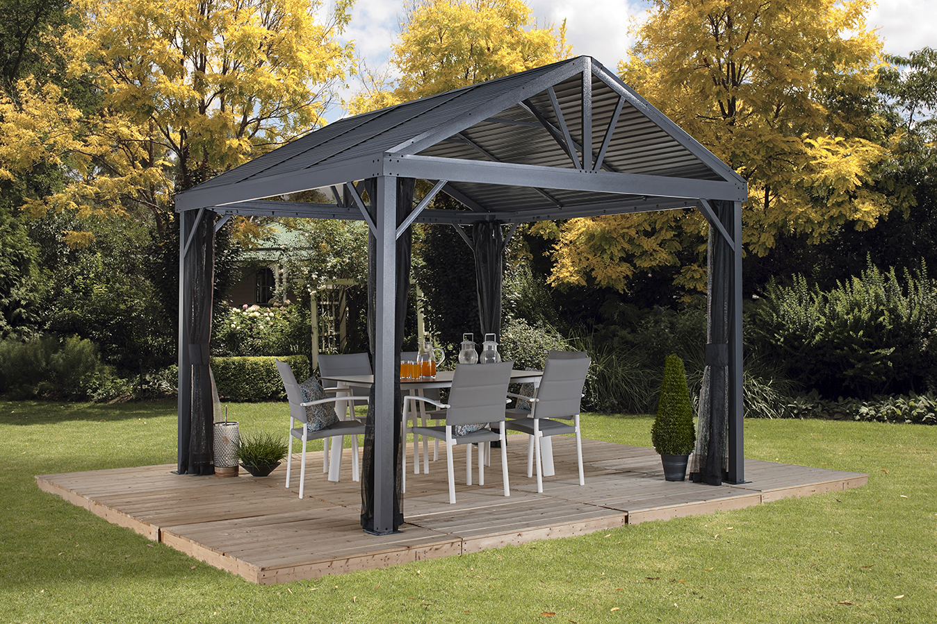 Sojag SANIBEL I 10x10 Gazebo, galvanised steel roof & mosquito netting by SOJAG