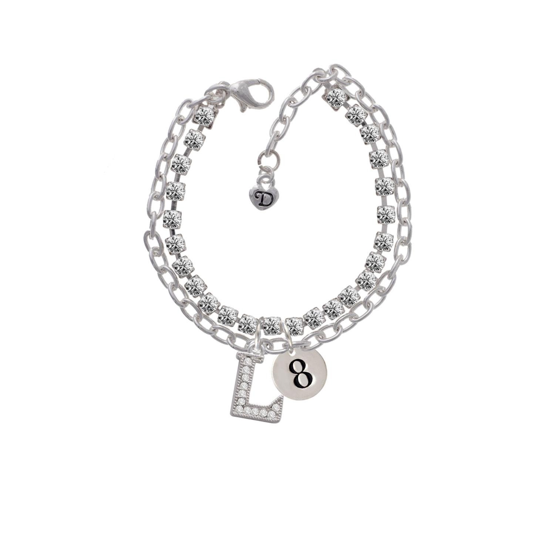 Disc 1/2'' Number - 8 -L- Double Strand Madison Charm Bracelet