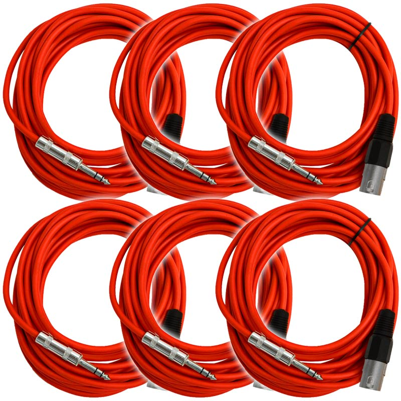 """Seismic Audio  - 6 Pack of Red 25 Ft XLR Male to 1/4"""" TRS Patch Cable Snake Cords Red - SATRXL-M25Red-6Pack"""