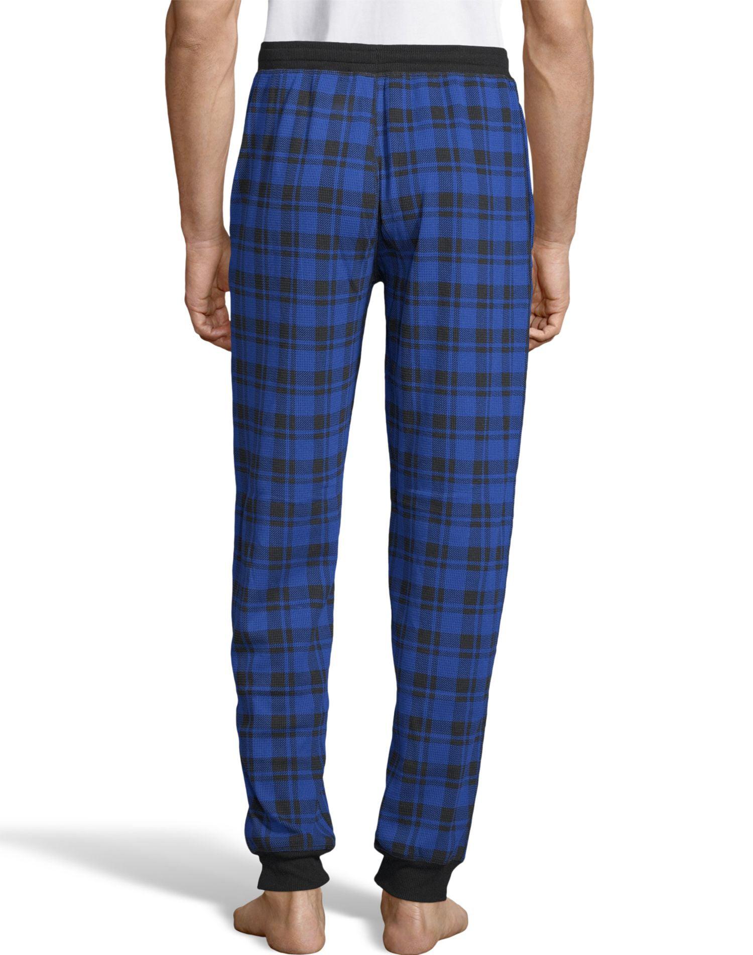 Hanes Mens Thermal Waffle Knit Jogger Pants, 3XL, Blue Plaid