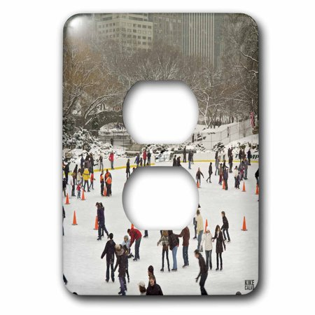 3dRose Snow blizzard in Central Park Manhattan New York City Ice Skate Ring - 2 Plug Outlet Cover (lsp_10309_6) (Park City Outlets)