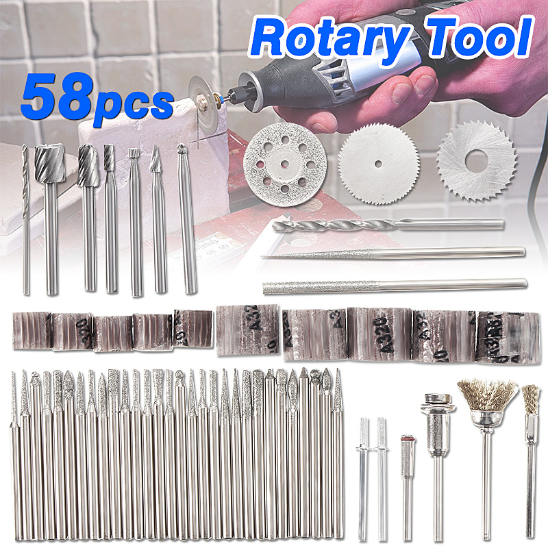 58pcs Rotary Tool Accessory Electrical Grinding Rotary Tool Cutting Accessory Grinding Polishing Tool Bit Set for Woodwoking Grinding Hobby Drill with Storage Box