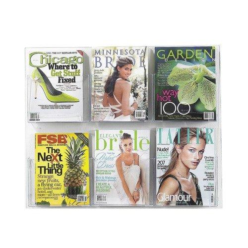 6 Pocket Magazine Display Rack - Clear