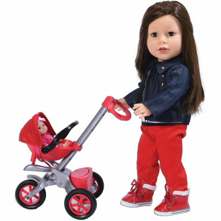 Bye Bye Baby Doll Stroller Play set for 18 inch Dolls - Great for American Girl Dolls and Doll accessory set (Doll Stroller Set)