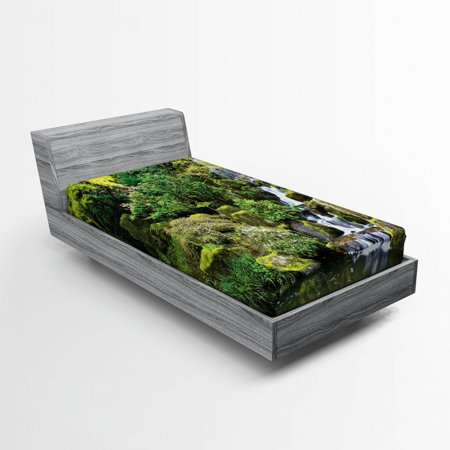 Image of Garden Fitted Sheet Pond in Style Garden Arboretum Trees Bush Foliage Rocks Waterscape Picture, Soft Decorative Fabric Bedding, Green White, by Ambesonne
