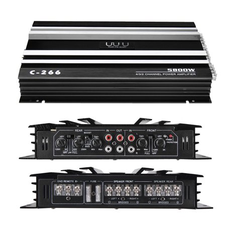 EIVOTOR 5800W High Power Amplifier RMS 4 Channel 12V 4Ohm Full R ange Car Stereo S uper Bass Audio Amp Speaker Audio Subwoofer Booster Metal Support 4 - 4 Hole Amps