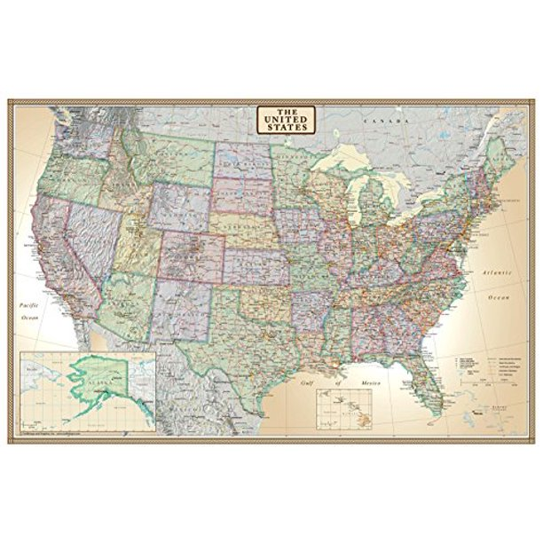 us map poster walmart 24x36 United States Usa Us Executive Wall Map Poster Mural