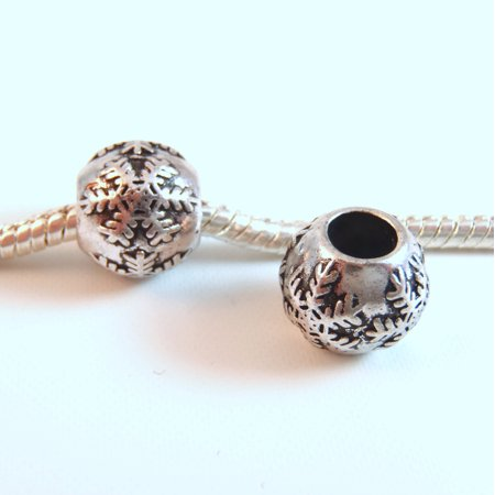 3 Beads - Snowflake Snow Winter Christmas Silver European Bead Charm E0937