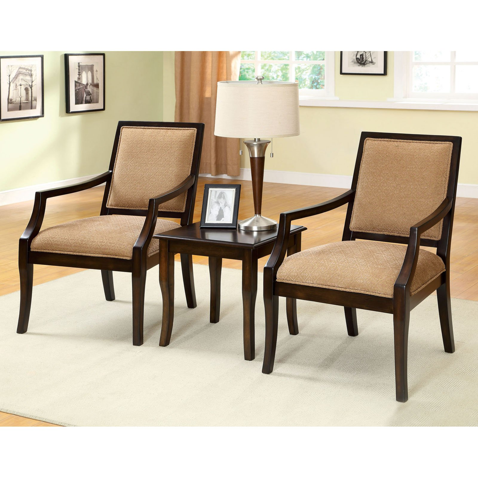 Furniture Of America Elizabeth 3 Piece Upholstered Arm Chairs And Table Set
