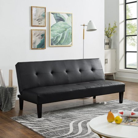 - Naomi Home Button Tufted Futon Sofa Bed-Color:Black