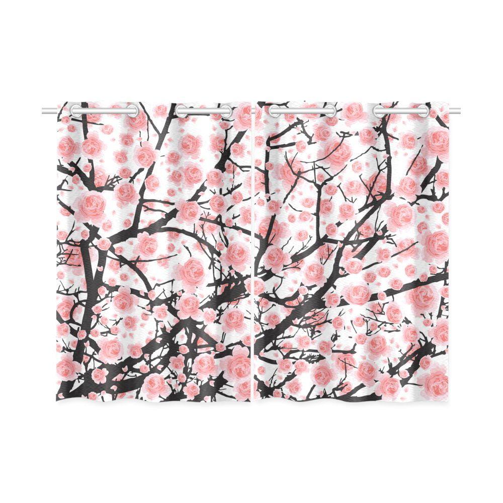 Mkhert Full Bloom Cherry Blossom Tree Window Curtains Kitchen Curtain Room Bedroom Drapes Curtains 26x39 Inch 2 Piece Walmart Com Walmart Com