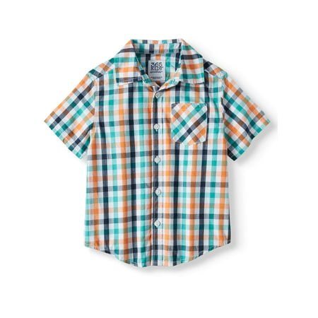 Hundreds Plaid Button - 365 Kids from Garanimals Short Sleeve Plaid Button Down Shirt (Little Boys & Big Boys)