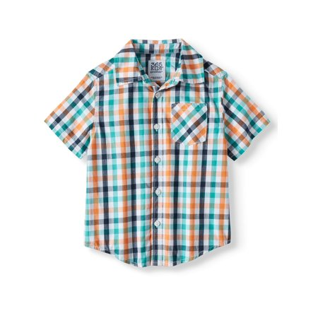 365 Kids from Garanimals Short Sleeve Plaid Button Down Shirt (Little Boys & Big Boys) - Boys Kids Dress
