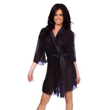 Lingerie Intimate Sheer Robe Sleepwear Chiffon Bathrobe W/Satin Belt