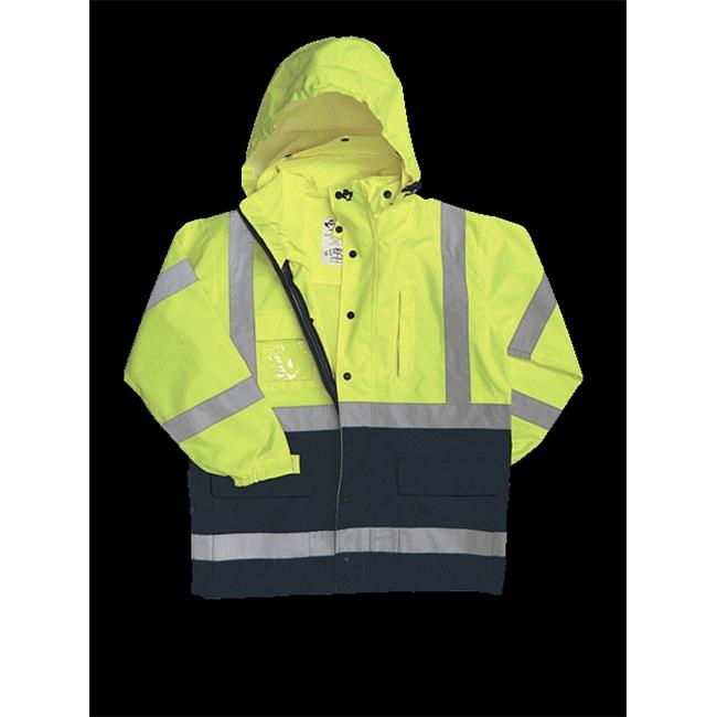 2W 736C-3 XL 100 Percent Waterproof Class 3 Rain Parka - Lime & Blue, Extra Large