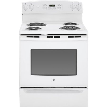 GE Appliances 30  Free-Standing Electric Range GEAP1101Features 5.3 cu. ft. oven capacity; Enough room to cook an entire meal at onceSelf-clean oven; Cleans the oven cavity without the need for scrubbingCoil heating elements; Provide even heat and easy cleanupDual-element bake; Upper and lower elements produce even heat and great resultsRemovable full-width storage drawer; Store cookware or kitchen accessoriesSelf-clean oven; Delivers a high concentrated heat with the touch of a button that conveniently cleans the oven cavity and eliminates the need to scrub baked-on food and spillsCountry of Manufacture: United StatesFuel Type: ElectricProduct Type: Free-standingControl Type: TouchStove Top Material: PorcelainAccessories Included: Storage drawer/Backsplash/BurnerNumber of Ovens: Single ovenCooktop Surface: CoilOven Capacity: 5.3 Cubic Feet DimensionsOverall Height - Top to Bottom: 47 Overall Width - Side to Side: 30 Overall Depth - Front to Back: 28.75 Overall Product Weight: 150 lbs