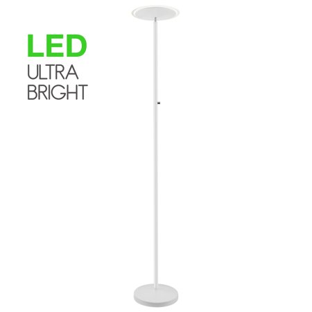 """Revel Horizon 70"""" Bright 36W LED Torchiere Floor Lamp, Dimmable, Timer, Wall Switch Compatible, Adjustable Head, White"""