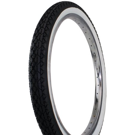 "Bicycle Tire Wanda 20"" x 2.125"" Diamond Thread. bike tire, Black/White Wall"