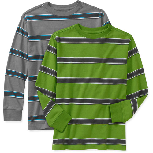 Faded Glory Boys Assorted Long Sleeve Crew Neck Shirt, 2 Pack