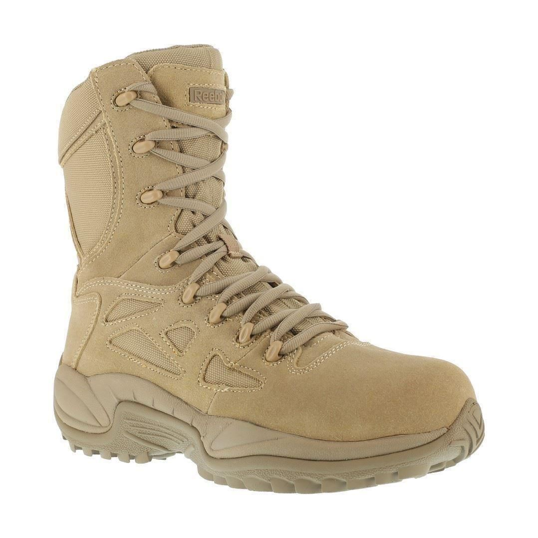 "Reebok Rapid Response RB8894 Mens Desert Tan Stealth 8"" EH Comp Toe Duty Boots"