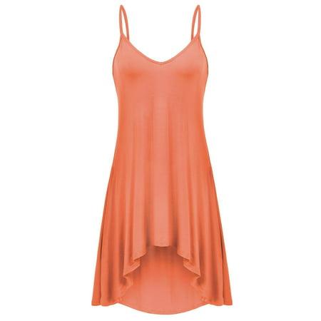 Womens Sleeveless Pajamas Solid V Neck Nightgown Spaghetti Straps Sleepwear Asymmetrical Hem Mini Dress RllYE Strap Neck Floor