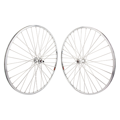 Wheel Pair 27x1 SUN M13 Silver 36 Alloy FW 5/6/7sp Quick Release Silver 126mm