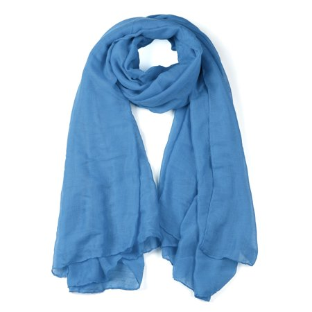Soft Lightweight Long Scarves With Solid Color Shawl For Women Men Denim blue - image 1 of 1