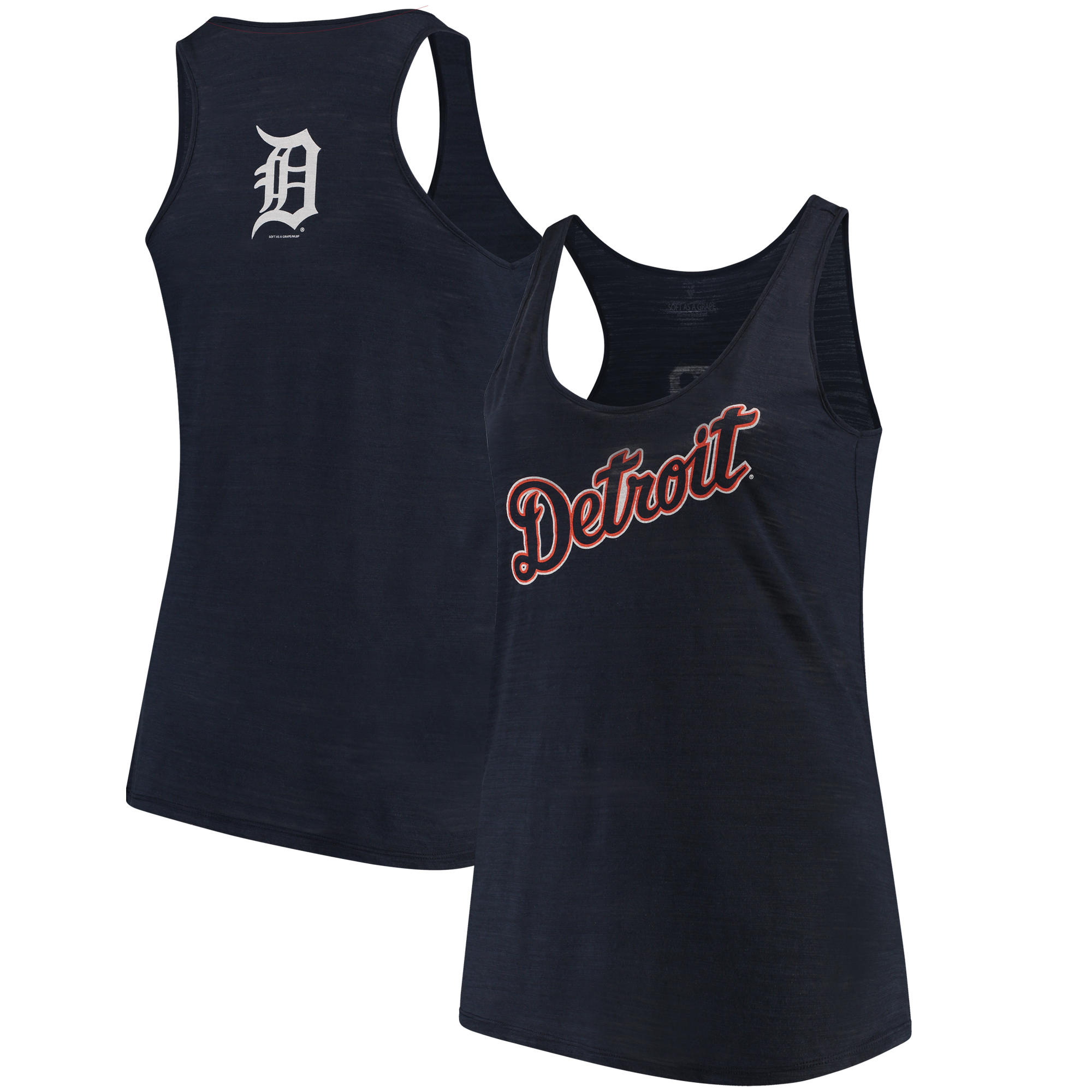 Detroit Tigers Soft as a Grape Women's Plus Size Swing for the Fences Racerback Tank Top - Navy
