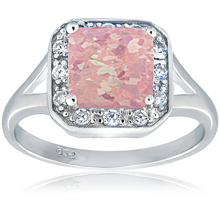 Created Pink Opal and CZ Sterling Silver Square Ring