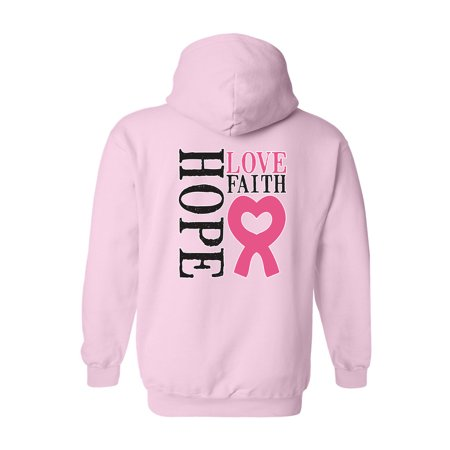 Unisex Zip-Up Hoodie Hope Love Faith Breast Cancer (Awareness Sweatshirt)