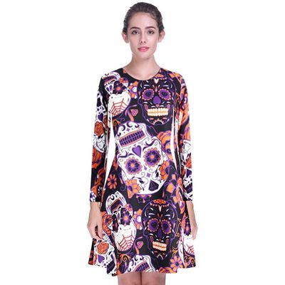 Yves Halloween Woman's Round Neck Long-sleeved Personality Trend Taro Print Dress - Tv Personalities For Halloween