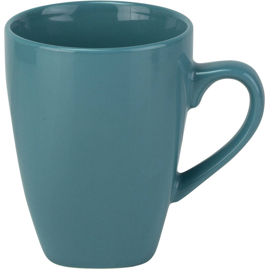 10 Strawberry Street Nova Square 10 oz Mugs, Aqua, Set of 6