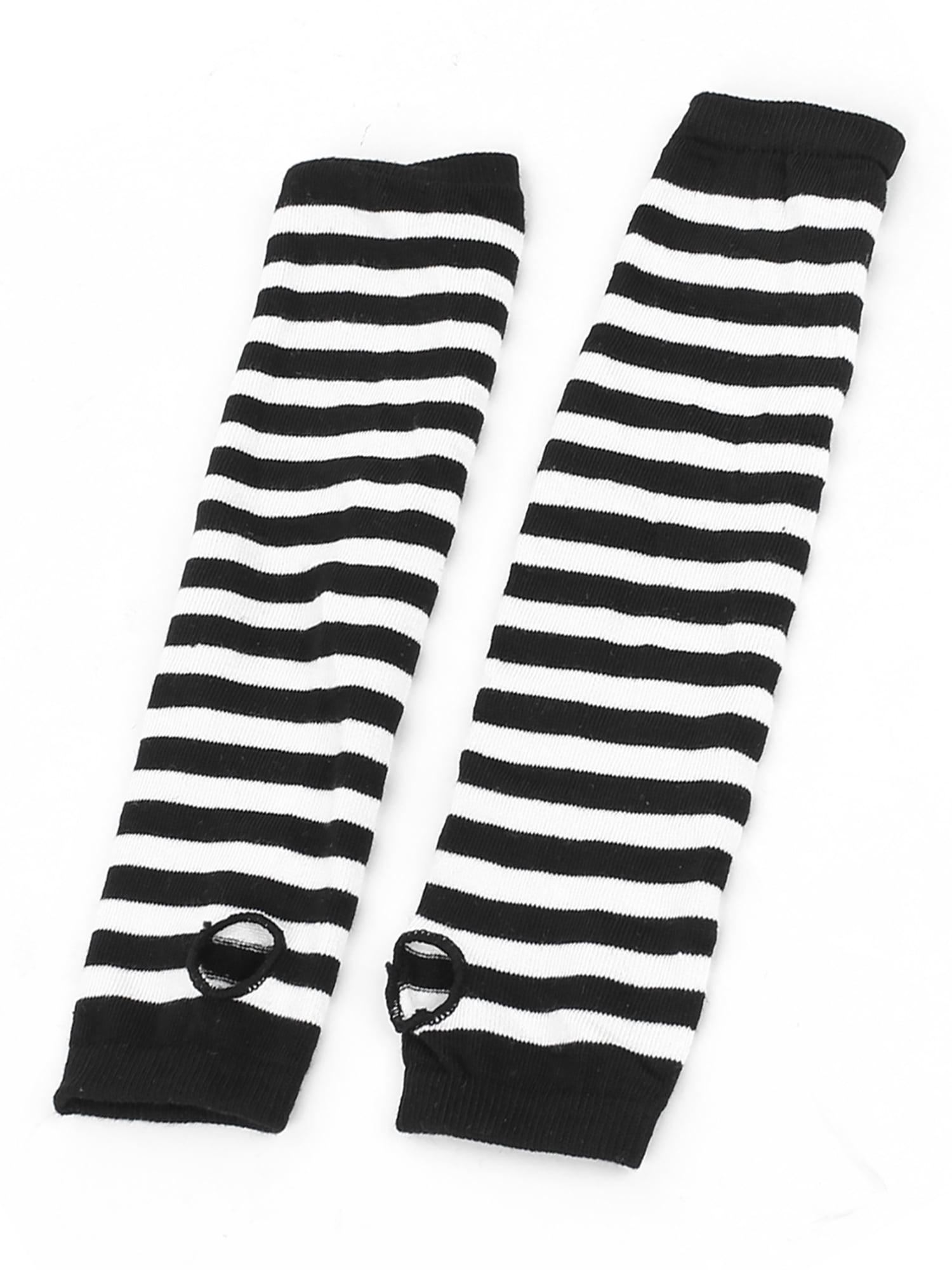 Lady Fingerless Stripes Prints Fabric Arm Long Gloves Warmers Gray Black Pair