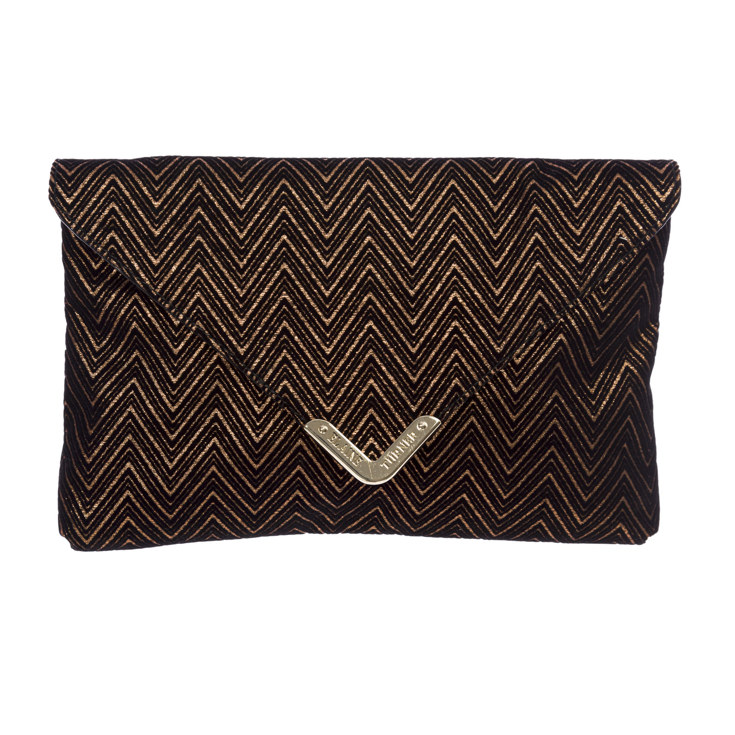 Elaine Turner Women's Velvet Zig Zag Bella Envelope Clutch Bag One Size Black & Copper