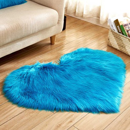 KABOER Love Heart Shaggy Fluffy Rugs With Wool Rug Carpet Bedroom Washable