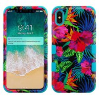 Apple iPhone Xs Max (6.5 in) Phone Case Tuff Hybrid Shockproof Impact Rubber Dual Layer Hard Soft Protective Hard Case Cover Electric Hibiscus Phone Case for Apple iPhone Xs Max