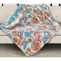 Beach Comber Tropical Quilt Throw Blanket