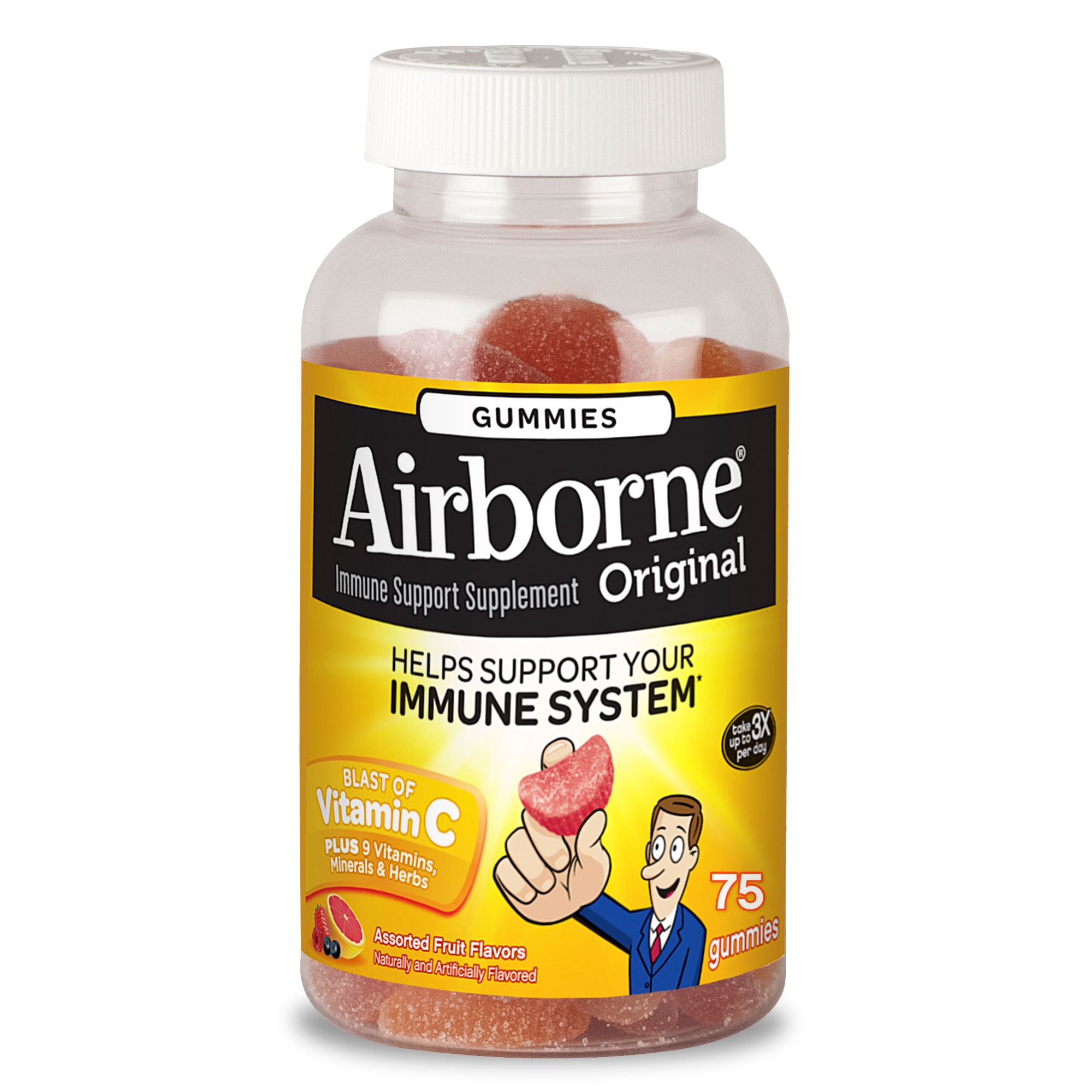 Image of Airborne Assorted Fruit Flavored Gummies, 75 count - 1000mg of Vitamin C and Minerals & Herbs Immune Support