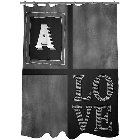 Thumbprintz Chalkboard Monogram Shower Curtain Grey