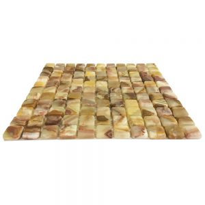 "Light Green Onyx (Dark Shade) Tumbled Mosaic Tile 1"" X 1"""
