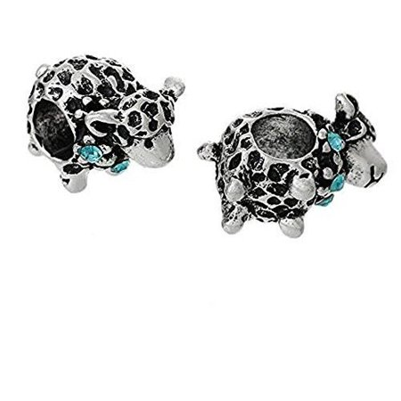 - Sheep Animal W/ Skyblue Crystal For European Charm Bead For Snake Chain Bracelet