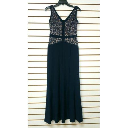 Lauren by Ralph Lauren Mother of the Bride Lace Full Length Gown NAVY Blue