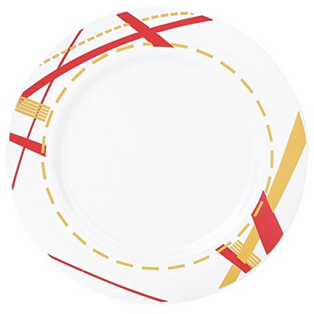 """Kaya Collection - Disposable Potpourri Red, White and Gold 7.5"""" Salad/Dessert Plates (20 Plates)"""