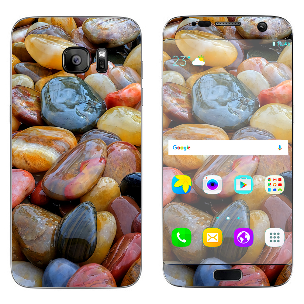 Skin Decal For Samsung Galaxy S7 Edge / Polished Rocks Colors