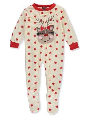 PJ's & Presents Baby Girls' Reindeer Hearts Footed 1-Piece Pajamas