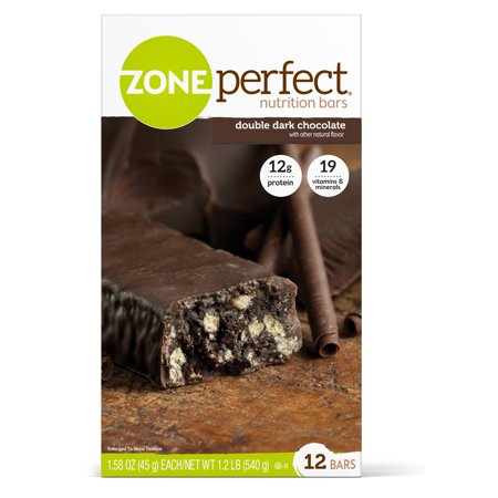 (ZonePerfect Nutrition Bar, Double Dark Chocolate, 12g Protein, 12 count)