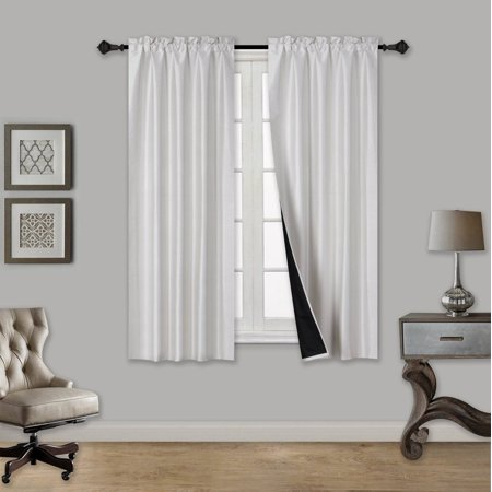 "TOM IVORY 2-Piece 100% Blackout Room Darkening Rod Pocket Window Curtain with Black Foam Backing Set, Solid Thermal Lined Panels 35"" x 63"" Each"