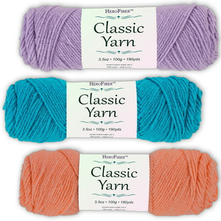 Soft Acrylic Yarn 3-Pack, 3.5oz / ball, Lavender Light + Blue Parakeet + Pink Coral. Great value for knitting, crochet, needlework, arts & crafts projects, gift set for beginners and pros