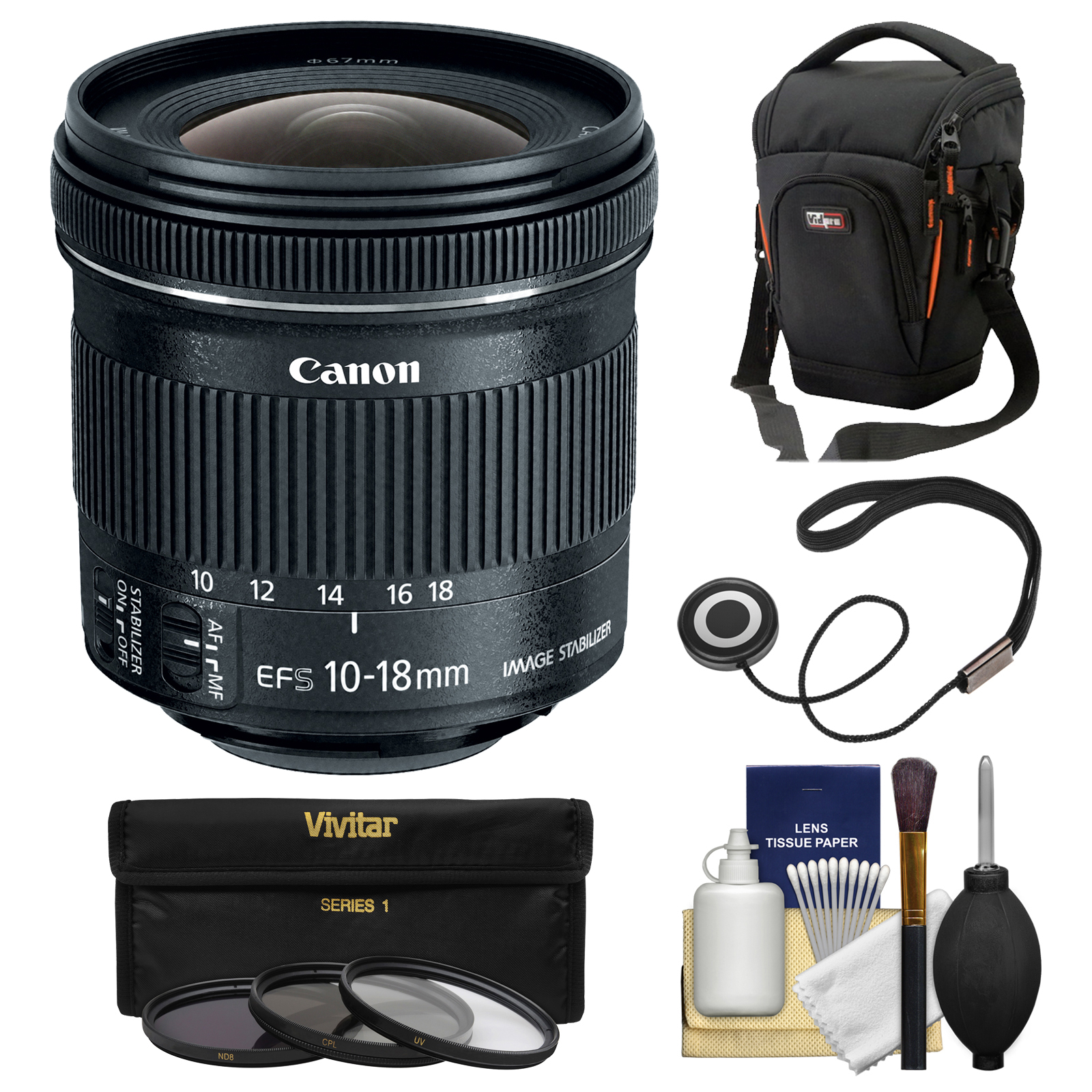 Canon EF-S 10-18mm f/4.5-5.6 IS STM Zoom Lens with Case +...