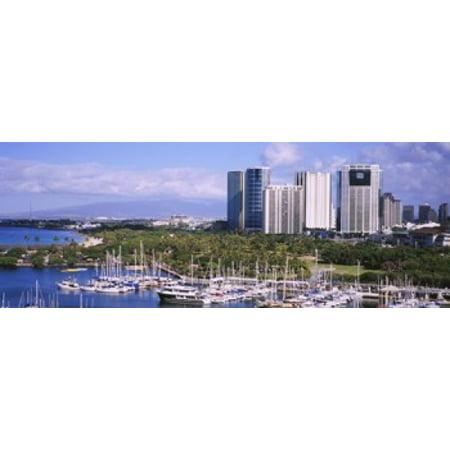 High angle view of boats Ala Wai Honolulu Hawaii USA Canvas Art - Panoramic Images (36 x